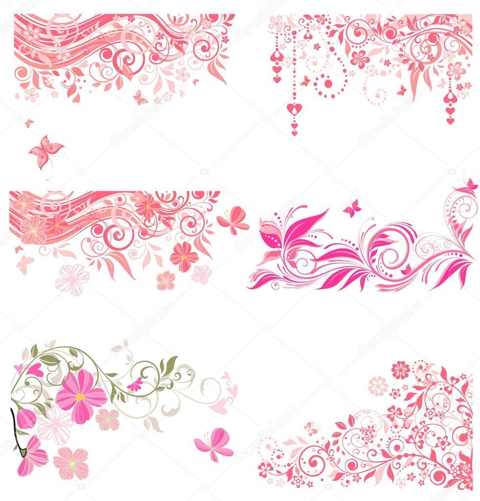 Colección de bordes decorativos de color rosa — Archivo Imágenes ...