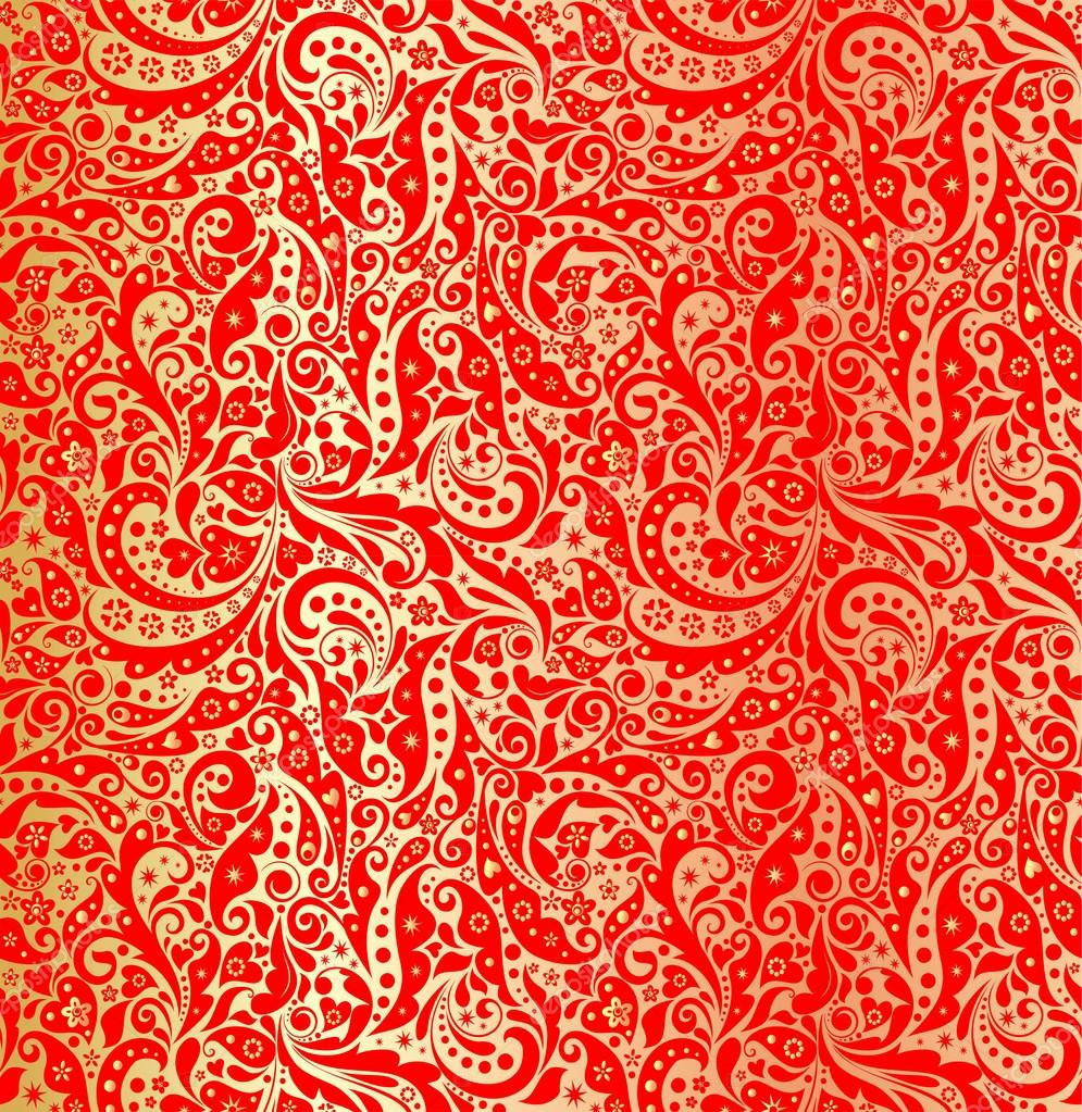 gold tapete mit urlaub rot muster stockvektor - Tapete Rot Muster