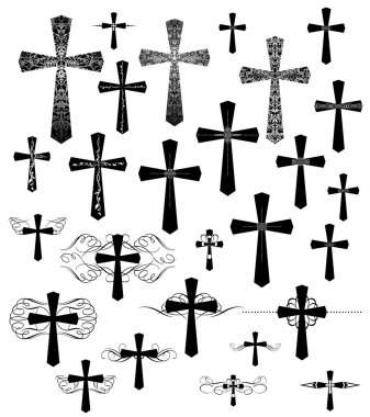 Collection of vintage engraving crosses with flourishes stock vector