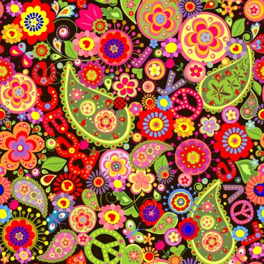 Hippie wallpaper with colorful flower print