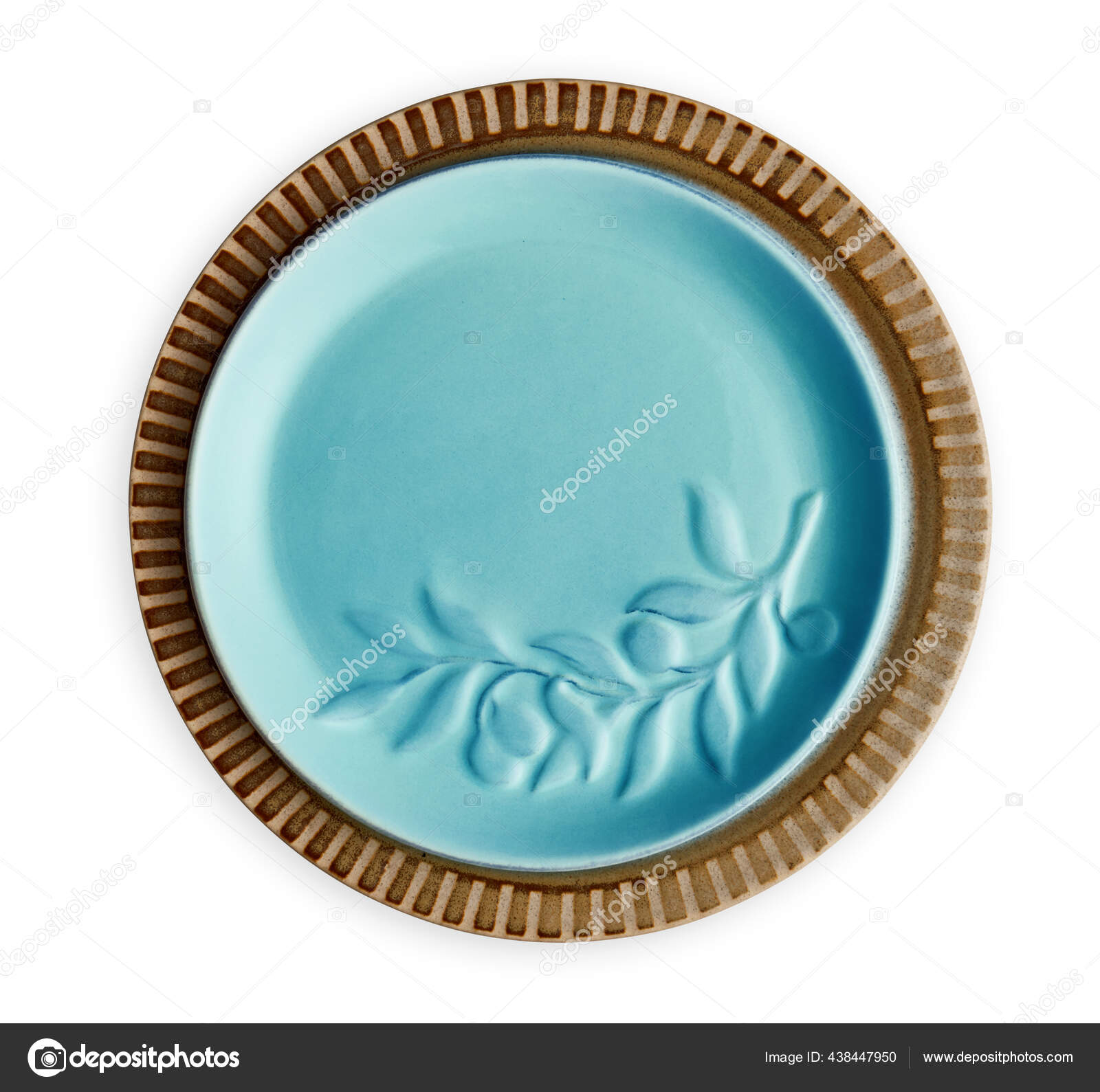 Empty Ceramics Plates Blue Plate Floral Pattern View Isolated White Fotos Imagens De C Dewins 438447950