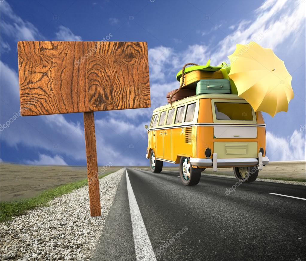 van avec valises toit pare soleil voyager pendant les vacances d 39 t photographie giovanni. Black Bedroom Furniture Sets. Home Design Ideas
