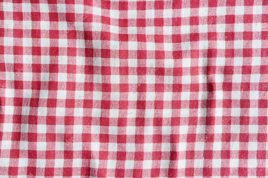 texture d'une nappe à carreaux rouge et blanc — photographie