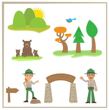 Cartoon set of park rangers, bears and nature icons. Eps10 stock vector