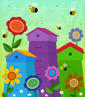 Colorful Beehives and bees