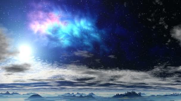 Jasná mlhovina nad mraky