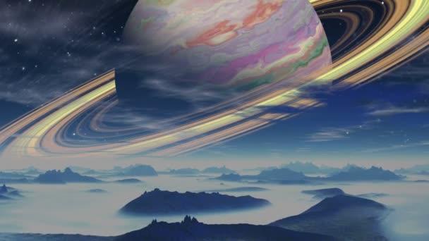 Plynný obr, obklopenou prstenci na pozadí planeta mimozemšťanů