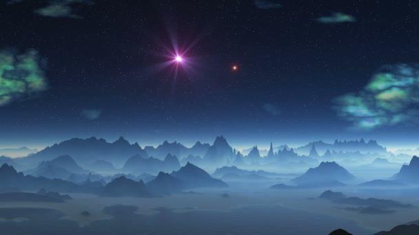 Két UFO-k repülő felett idegen bolygón