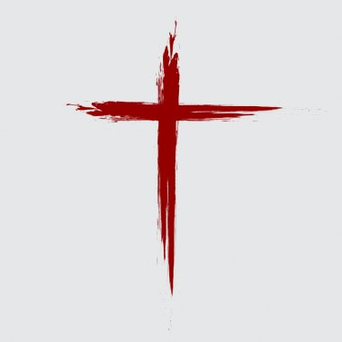 Hand drawn red grunge cross icon