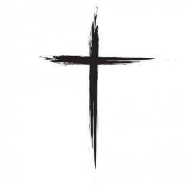 Hand drawn black grunge cross icon