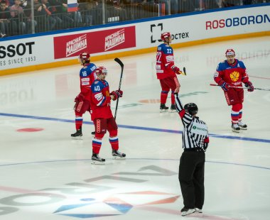 MOSCOW - APRIL 30, 2016: The players Russian National Team  and