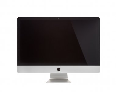 MOSCOW, RUSSIA - MAY 10 , 2014: Photo of new iMac 27 With OS X Mavericks. iMac - monoblock series of personal computers, created by Apple Inc.