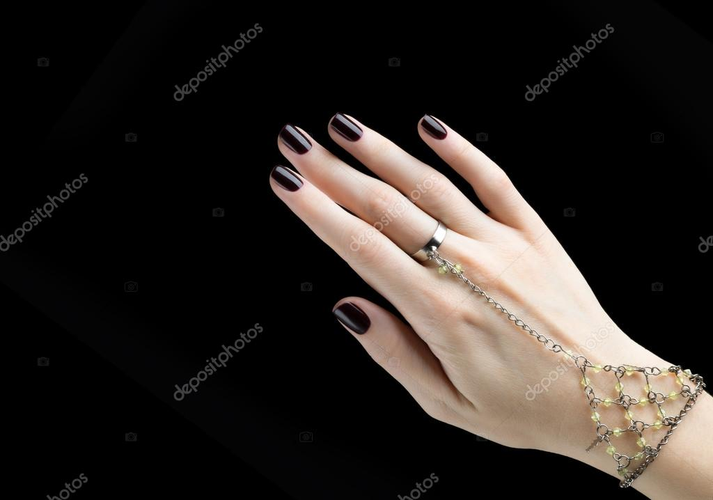 Manicured Nail with Black Matte Nail Polish. Manicure with Dark ...