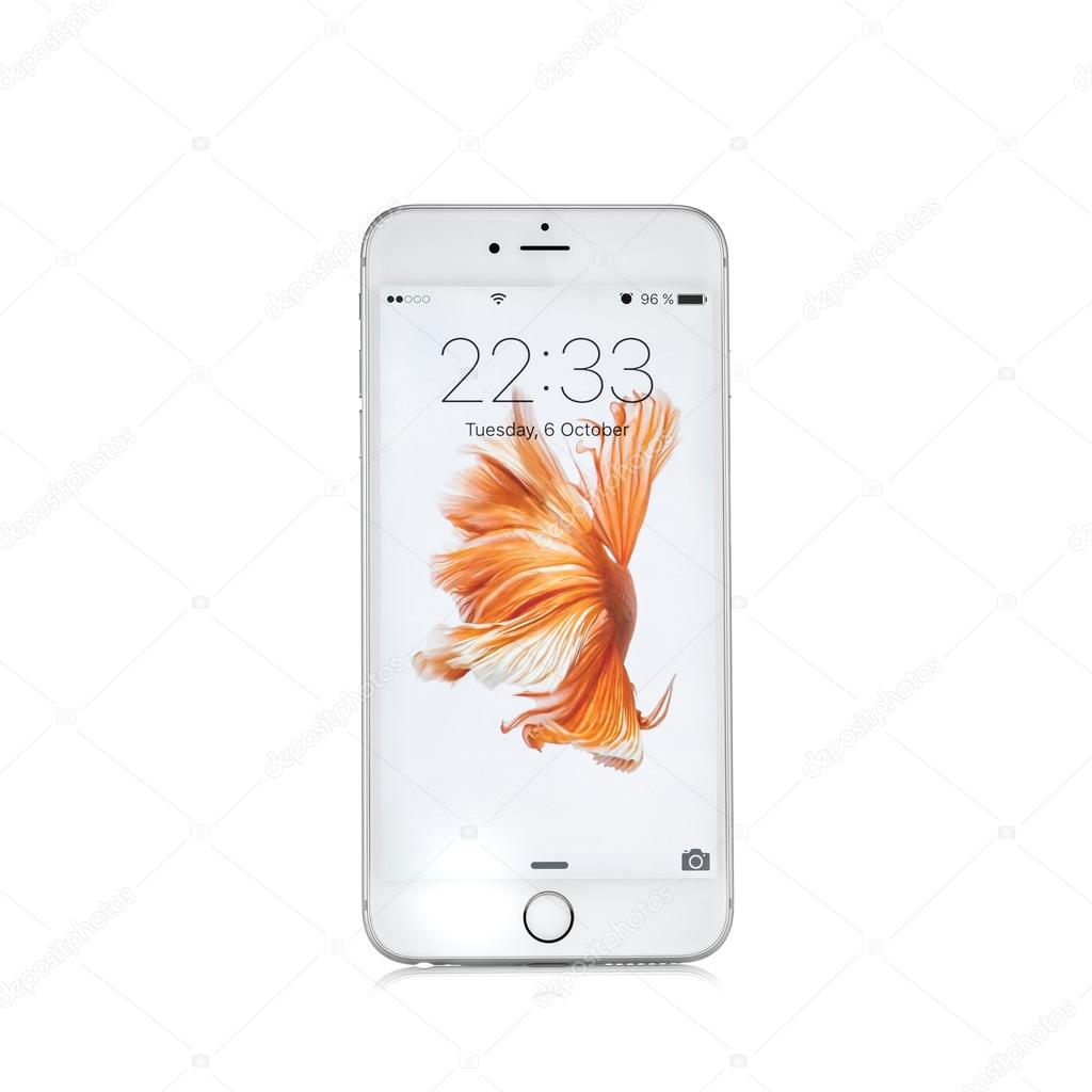 MOSCOW, RUSSIA - OCTOBER 06, 2015: New white iPhone 6 s is a sma