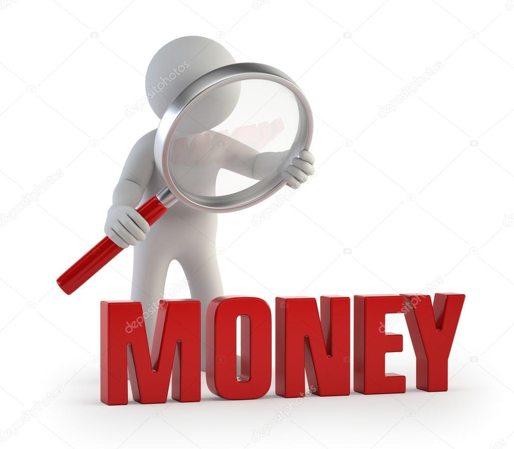 月最低工资标准_3d 小人-lupe 钱 — 图库照片©Art3d#64982643