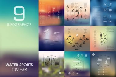 Water sports infographics with unfocused background