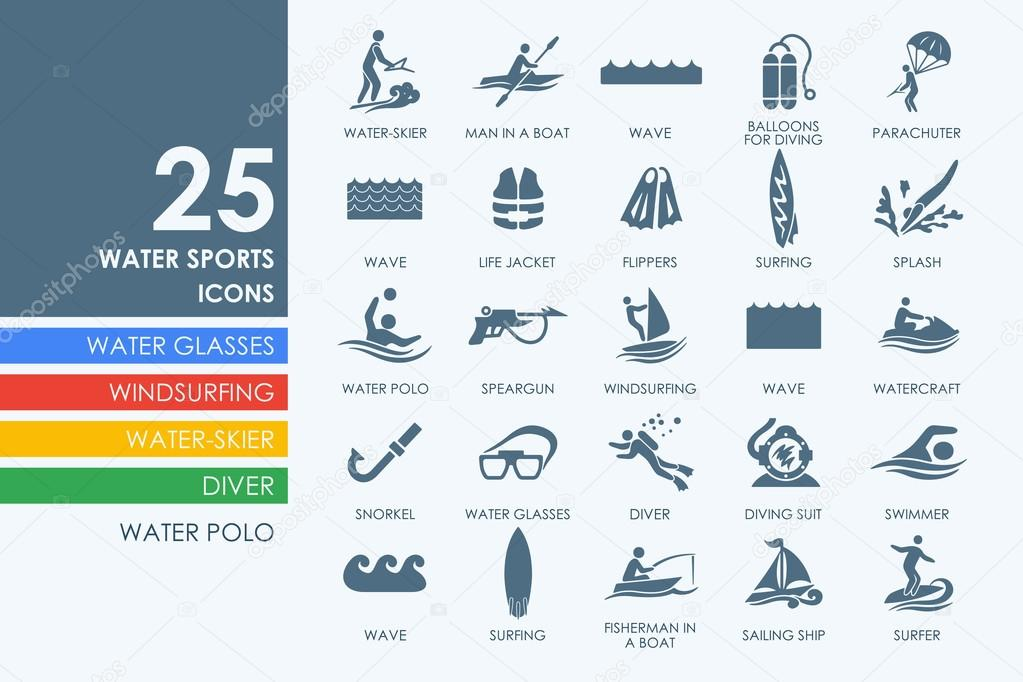 Set of water sports icons