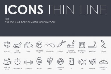 Diet Thin Line Icons