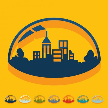 Flat design: domed city