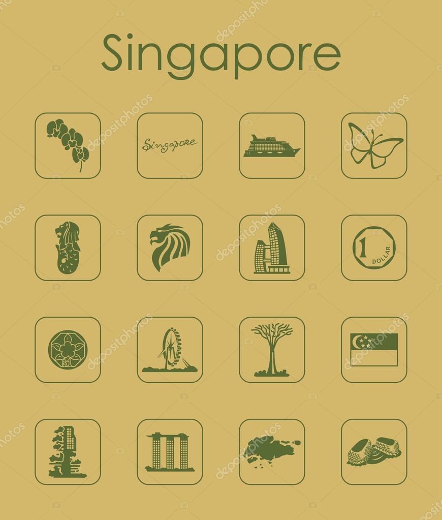 Satz von Singapur einfache Symbole — Stockvektor © Palau83 #111655940
