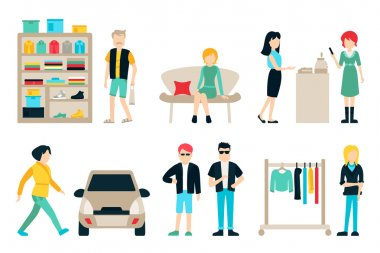 Shopping and shipping flat icons set.