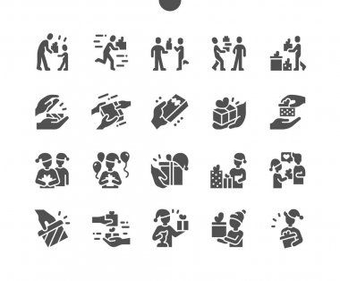 People give gifts. Beautiful gifts for Christmas. Received a gift. People are celebrating. Happy New Year. Holidays, presents. Vector Solid Icons. Simple Pictogram icon
