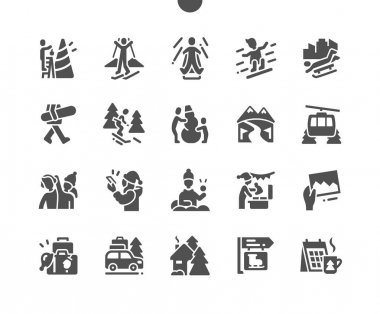 Winter vacation. Ice skating, play snowballs, snowboarding and skiing. Winter holidays in the mountains. Decorate the christmas tree. Vector Solid Icons. Simple Pictogram icon