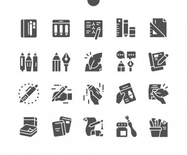Writing tools. Notebooks. Stationery, pencil, pen, marker, case, instrument, calligraphy, education and school. Vector Solid Icons. Simple Pictogram icon