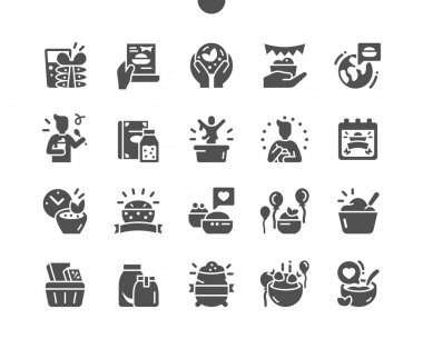World Festival of Oatmeal. Calendar. Holiday. Invitation to the festival. Favourite oatmeal. Party and celebrate. Vector Solid Icons. Simple Pictogram icon