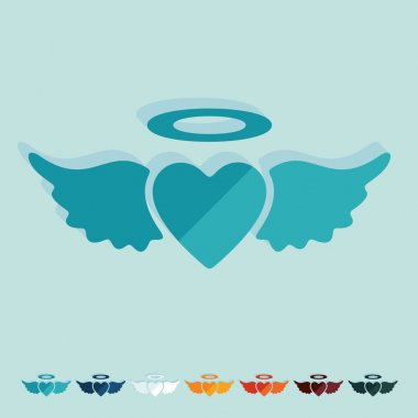 Heart angels flat design icons