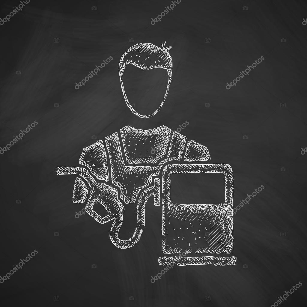 Mechanic icon on chalkboard