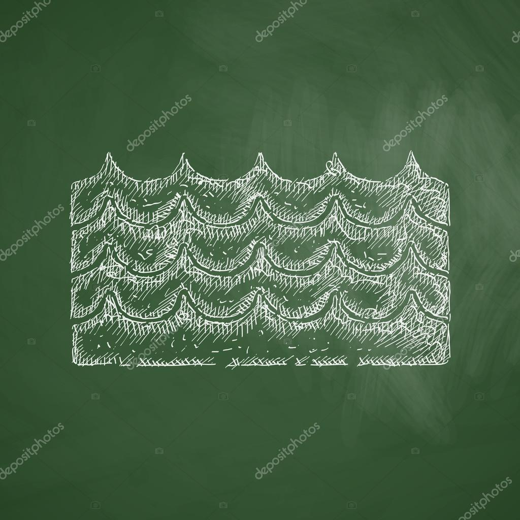 Wave icon on chalkboard