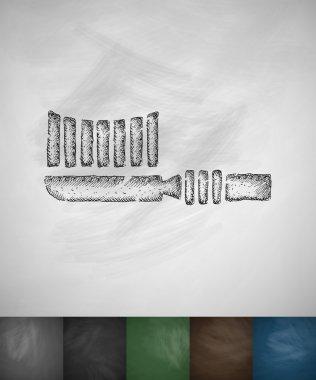 Toothbrush icon on chalkboard