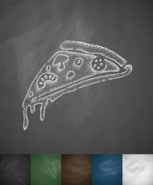 Pizza icon on chalkboard