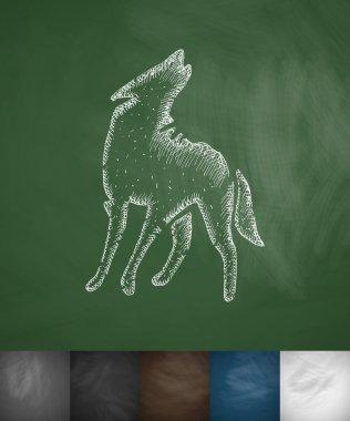 Wolf icon on chalkboard