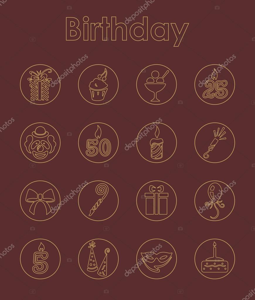 Satz von einfachen Symbole Geburtstag — Stockvektor © Palau83 #73086975