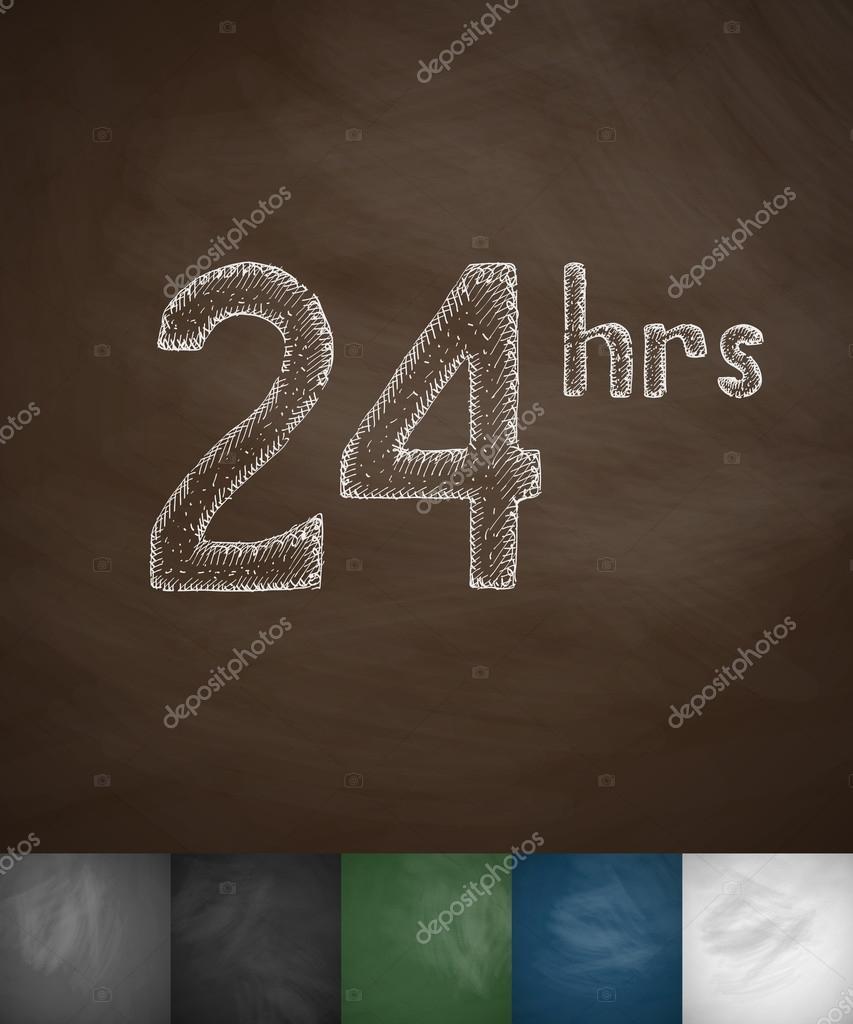 Around clock icon on chalkboard