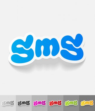 realistic design element. sms message