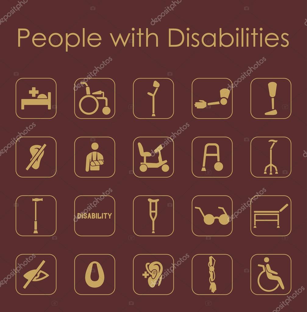 Gruppe von Menschen mit Behinderungen einfache Symbole — Stockvektor ...