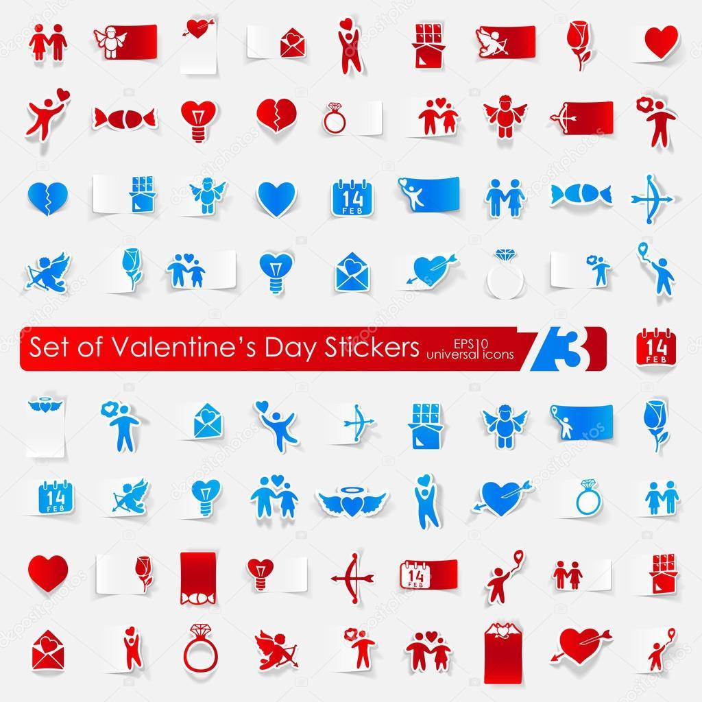 Satz von Valentinstag Aufkleber — Stockvektor © Palau83 #78403352