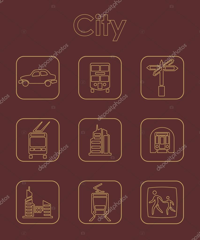 Satz von Stadt einfache Symbole — Stockvektor © Palau83 #80537862