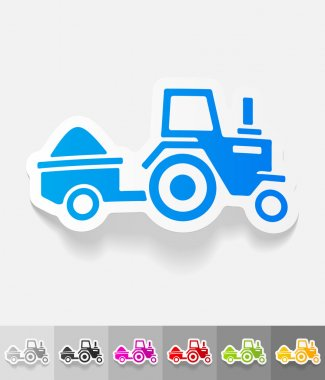 tractor with trailer paper sticker