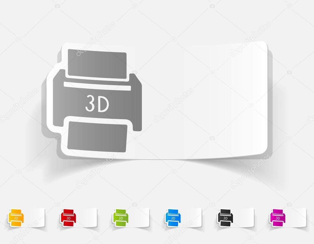 Drei D Drucker Papier Aufkleber Stockvektor Palau83