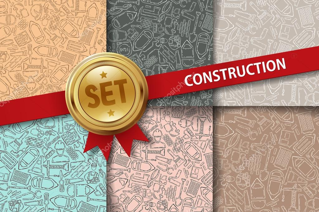 Set of construction backgrounds with doodle icons
