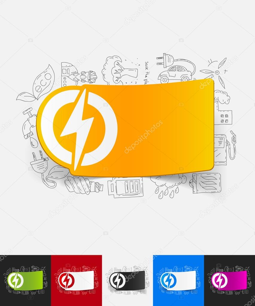 lightning bolt paper sticker