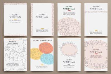 templates set with doodles Christmas theme