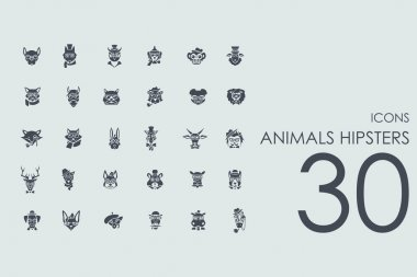 Set of animals hipsters icons