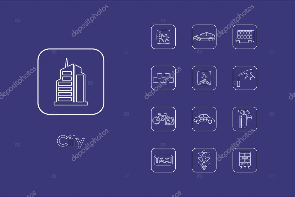 Satz von Stadt einfache Symbole — Stockvektor © Palau83 #88200726