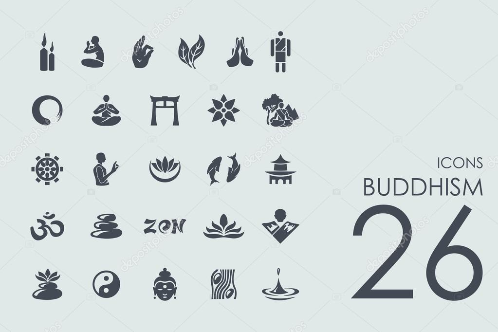 Lieblings Satz von Buddhismus Symbole — Stockvektor © Palau83 #95643098 @JG_38