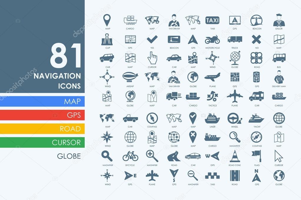 Satz von Navigations-Symbole — Stockvektor © Palau83 #95646654